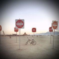 Bike on Playa inside Traffic Signs
